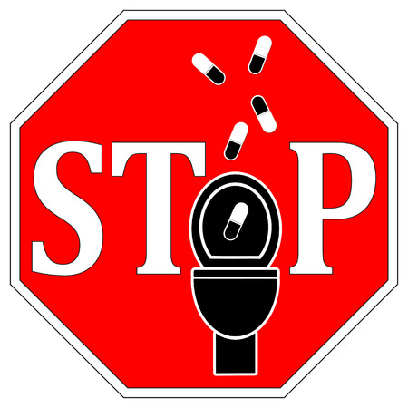 flush toilet: No Drugs Down the Toilet. No not flush medicines down the drain. Stock Photo