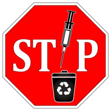 papelera de reciclaje: No hay jeringas en la papelera de reciclaje. Se�al de advertencia se jeringas y agujas no puede ser reciclado