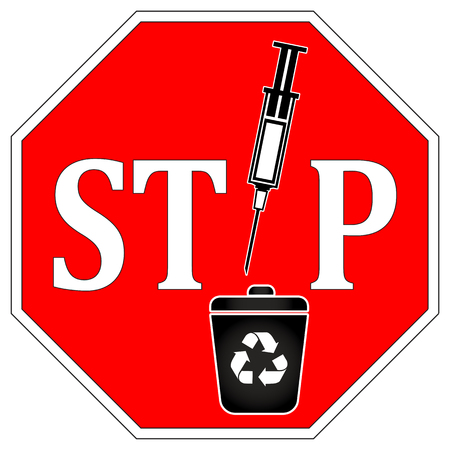 can not: No Syringes in Recycle Bin. Warning sign did syringes and needles can not be recycled