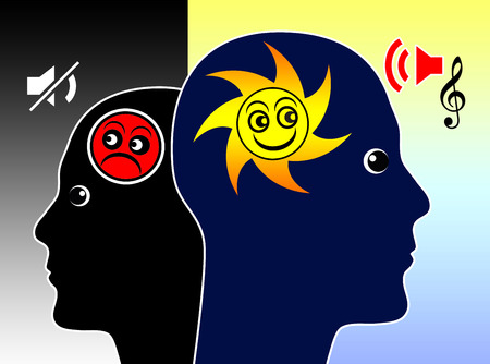 How Music Affects our mood. Concept sign for the power of music on the human soul and brain Stock Photo