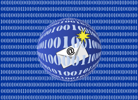 cyber war: Cybercrime by email. Concept sign for criminal activities on the Internet by sending messages and attachments