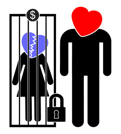 Servile Marriage. Woman is being sold for money or forced to marry a wealthy man. Stock Photo