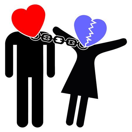 psyche: El amor y la obsesi�n. Trastorno obsesivo amor es la incapacidad de dejar ir despu�s de una ruptura. Foto de archivo