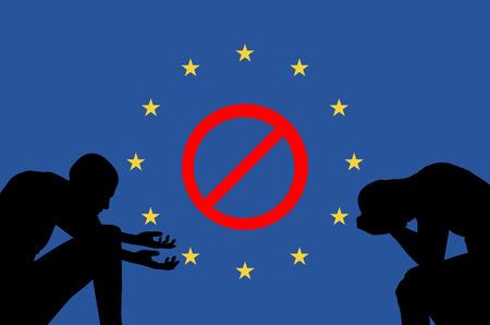 desperate: Fronteras cerradas en Europa. Refugiados desesperados y solicitante de asilo bloqueados de los pa�ses europeos