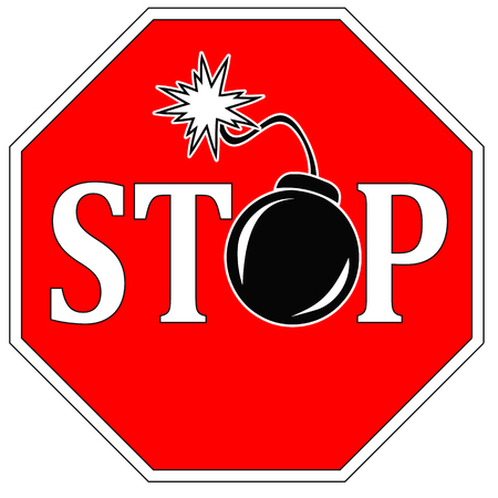 bloodshed: Stop terror. Concept sign to ban any kind of violence like war and terrorism Stock Photo
