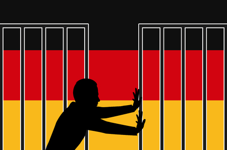 war refugee: Germany Welcomes Refugees. Concept sign for the refugee and asylum policy in Germany
