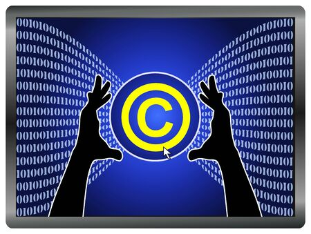 copyrighted: Concept sign of stealing copyrighted material from the Internet