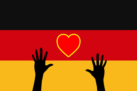 war refugee: Refugees relying on Germany. Concept sign for the German support for asylum seekers and heart Stock Photo