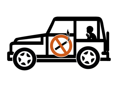 minors: Ban Smoking in Cars with Minors. Smoking in private vehicles with underage passengers is illegal in many countries Stock Photo