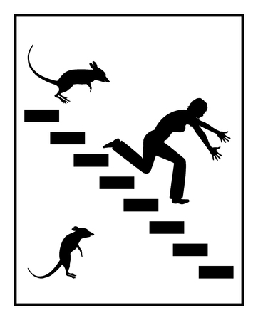 traumatic: Fear of Mice. Concept sign of a woman suffering from mice and rat phobia Stock Photo