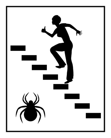 phobia: Fear of Spiders. Concept sign of a woman suffering from spider phobia Stock Photo