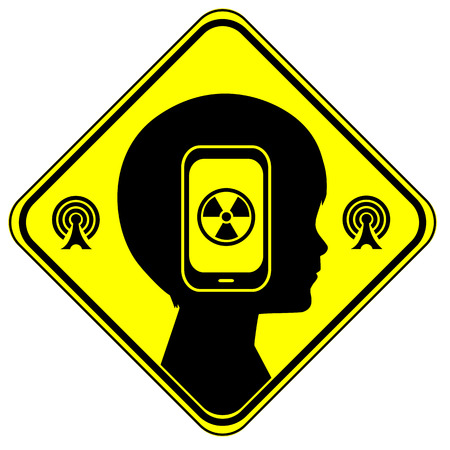 Health risk from cellphones. Wi-Fi and wireless radiation exposure can harm the brain development of kids 版權商用圖片 - 44980406
