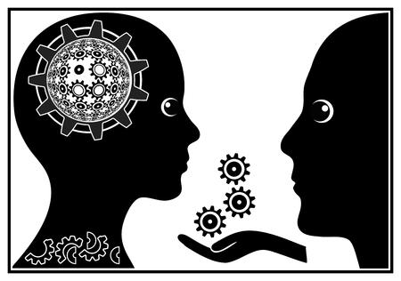 psyche: El psiquiatra en el trabajo. Signo concepto chistoso del paciente con problemas mentales en sesión psiquiátrica