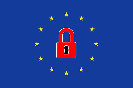 interrupt: Europe Closing Borders. Concept sign for closed borders and border controls in the European Union to interrupt the flood of refugees Stock Photo
