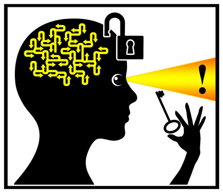 brainteaser: Unlock and activate your brain. Concept sign of a woman who is using her brainpower to find The Solution