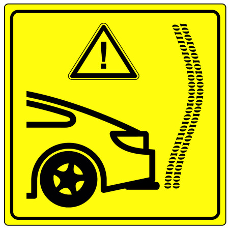 schandaal: Emissions test manipulation. Icon and warning sign for the Emission cheating scandal in the car industry