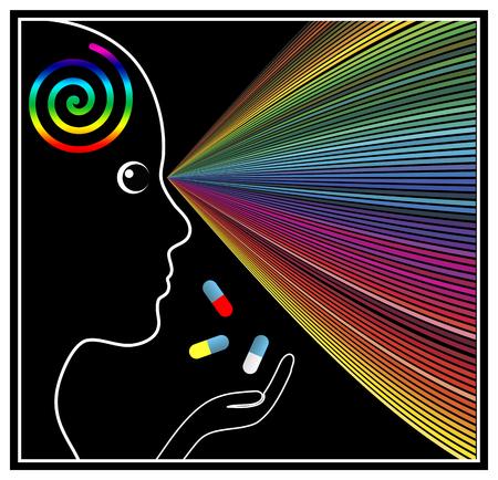 mente: Mind Ampliación Drogas. Muestra del concepto de una mujer tomando sustancias psicoactivas o drogas que alteran la mente Foto de archivo