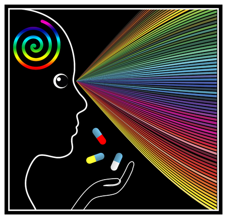 mind: Mind Expanding Drugs. Concept sign of a woman taking psychoactive substances or mind altering drugs