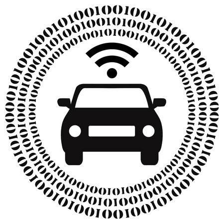 car driving: Autonomous Driving. Concept sign of driverless cars and self driving vehicles