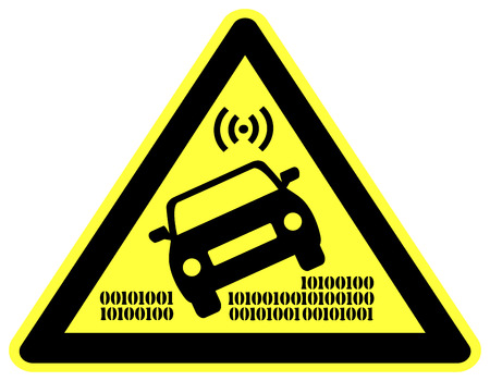 accident: Caution Autonomous Car. Concept sign to watch out for self driving vehicles Which May Cause Car Accidents