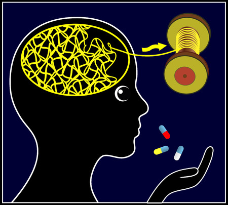 psychoactive: Psychoactive Drugs for Treatment. Woman taking pills to calm down and stop worries