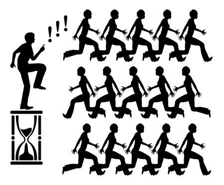 acoso laboral: Trabajando bajo la presión del tiempo. Signo concepto humorístico y la metáfora del negocio de estrés en el trabajo