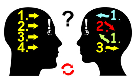 logical: Difference in Logical Thinking. Man and woman differentiate in Their thought pattern and the way They argue