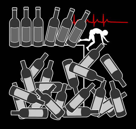 alcohol abuse: Alcohol abuse kills. Concept sign and warning did excessive alcohol consumption is leading to death Stock Photo