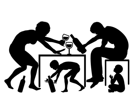 role models: Alcoholic Parents. Father and mother with drinking problems are role models for children in Their Childhood Education