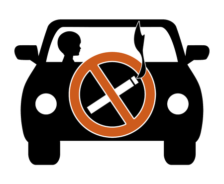 minors: Ban Smoking in Cars with Kids. Smoking in private vehicles with minors must stop due to health risks Stock Photo
