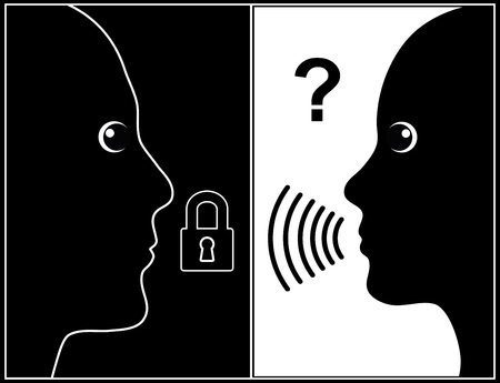 silently: End of Communication. Man falls silent, while woman is silently questioning him Stock Photo