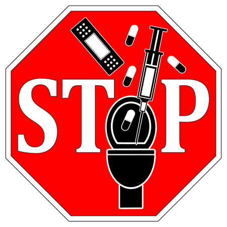 medical sign: No Medical Waste Down the Toilet. Concept sign not to flush syringes, bandages or pills down the toilet