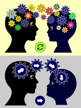 psicologia infantil: La diferencia en el estilo de crianza. Los padres influyen en sus hijos a través de patrones específicos en educación temprana, que van desde autorizada para autoritaria Foto de archivo
