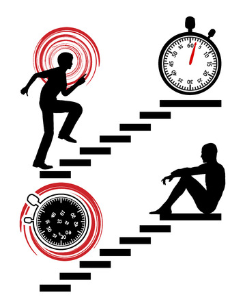 busy person: Stop the Rat Race. Busy Person Winning the Race Against Time by quitting