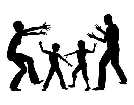 conflict: Instalarse Rivalidad entre hermanos. Los padres tratando de resolver el conflicto en la hermana hermano familia Foto de archivo