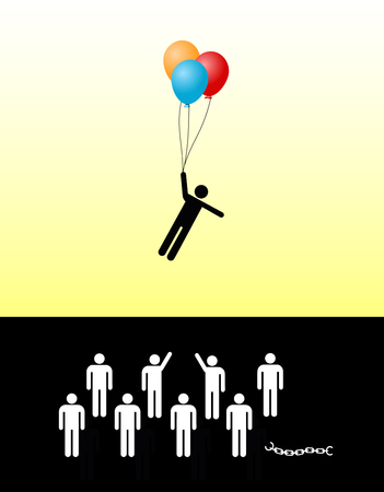 liberate: Flight into an Uncertain Future. Concept sign of refugee fleeing from his country or prison leaving many people behind