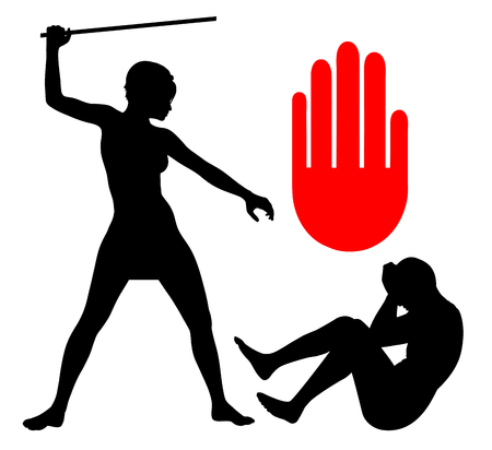 gender: Domestic Violence Against Men. Concept sign of a man in a abusive relationship with woman Which must stop