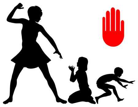 threatens: Stop Corporal Punishment. Mother Threatens her children and is going to slap them