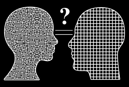 sencillez: Los hombres y las mujeres piensan de manera diferente. concepto humorístico de masculino y femenino complejidad señal simplicidad que lleva a un gran signo de interrogación para los dos
