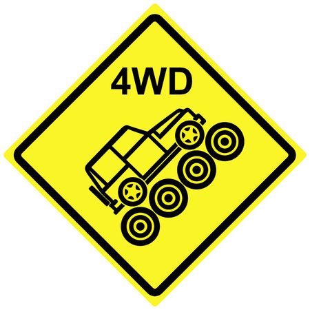 4wd: Four Wheel Drive Needed. Traffic and road sign, only 4WD vehicles can pass dangerous hill Stock Photo
