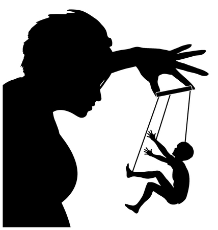 coercion: The Manipulative Mother. Concept sign of Parent Treating her child with coercion, threats or deceit like a puppet