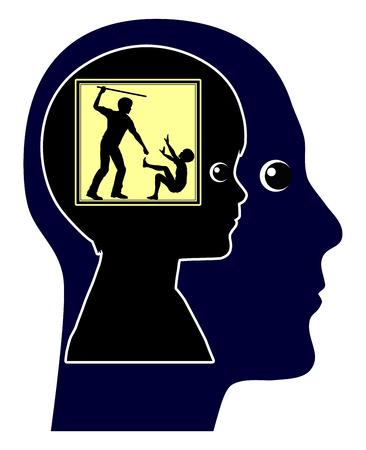 Trauma dat een leven lang meegaan. Traumatische ervaring in Early Childhood gezondheid beïnvloedt Levenslang Stockfoto