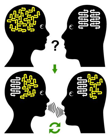 Building Rapport. Concept van een effectieve en productieve communicatie tussen man en vrouw Stockfoto