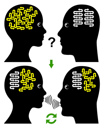 comunicação: Edifício Rapport. Conceito de uma comunicação eficaz e produtivo entre homem e mulher Banco de Imagens