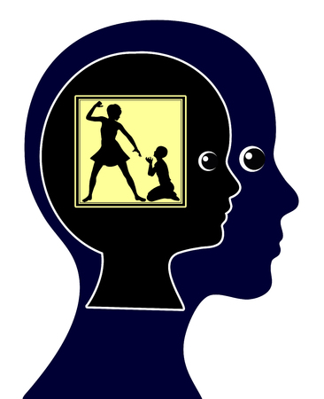 psique: Impacto de maltrato físico infantil. Castigo Corporal en Educación Infantil puede conducir a mentaldisorder toda la vida Foto de archivo