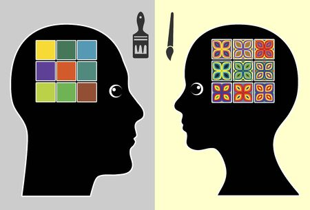 preference: Creativity by gender. Man and woman have a different preference towards coloration and sense of colors