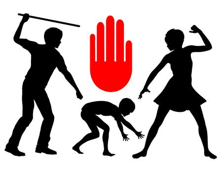 Ban Spanking kinderen. Fysiek geweld tegen kinderen moet stoppen en moet worden beschouwd als misdaad Stockfoto