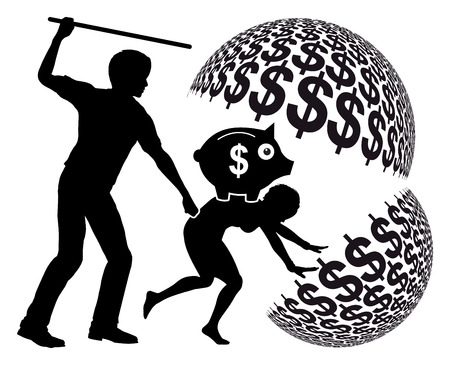 exploited: Forced Labor. Female slave getting exploited by slaveholder for profits Stock Photo