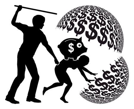 esclavo: Trabajo forzado. esclava siendo explotado por slaveholder de ganancias