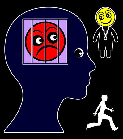 desconfianza: La desconfianza en los m�dicos. Mujer con el miedo de los m�dicos fobia